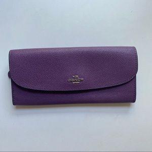 Coach Purple Slim Leather Envelope Wallet